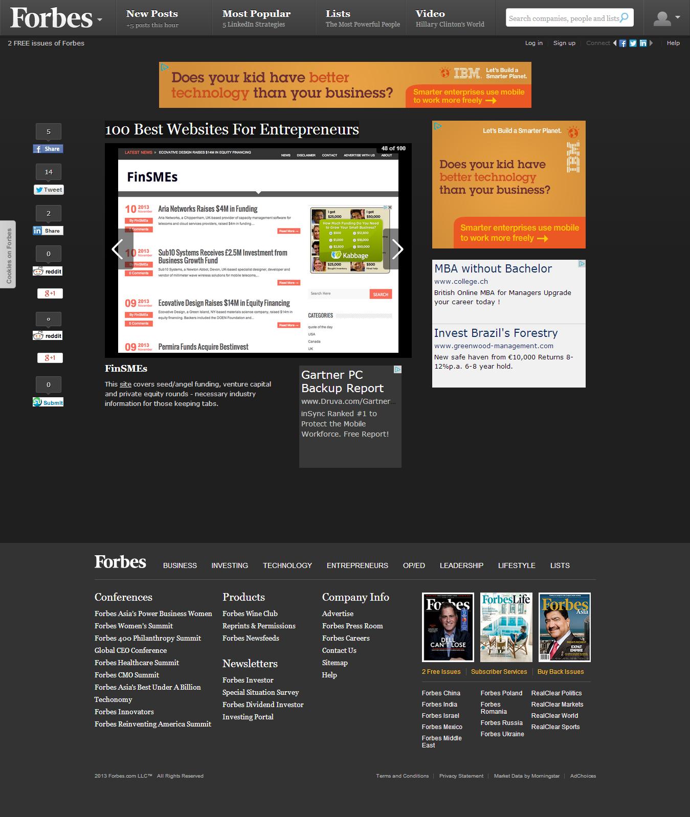 Finsmes in forbes 100 best websites for entrepreneurs finsmes for What are the best websites