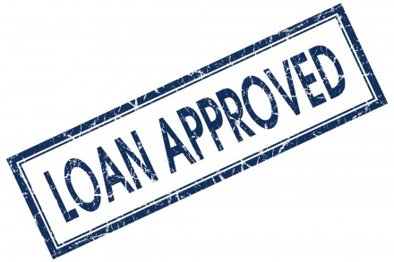 loan approved blue square stamp