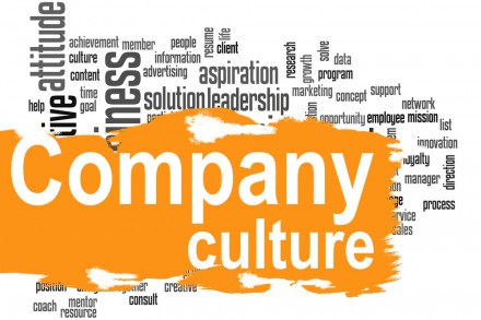 Company culture word cloud with yellow banner